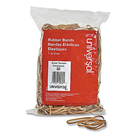 "Universal® Rubber Bands, Size 32, 3"" x 1/8"", 820 Bands/1lb Pack"