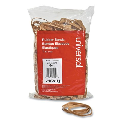 "Universal Rubber Bands, Size 64, 3-1/2"" x 1/4"", 320ct./1lb Pack"