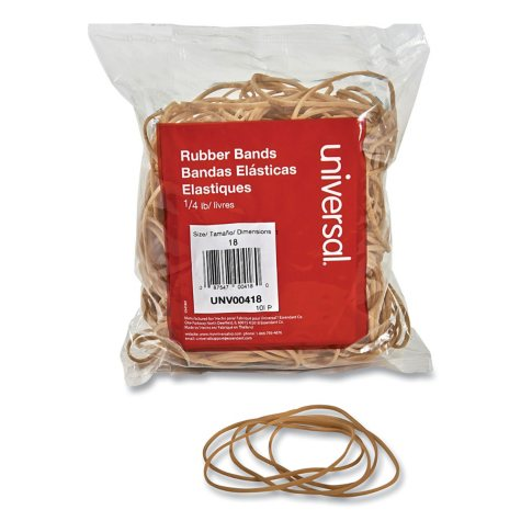 "Universal® Rubber Bands, Size 18, 3 x 1/16"", 400 Bands/1/4lb Pack"