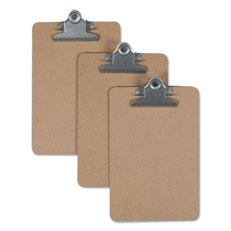 "Universal® Hardboard Clipboard, 3/4"" Capacity, 5 x 8 Sheets, Brown"