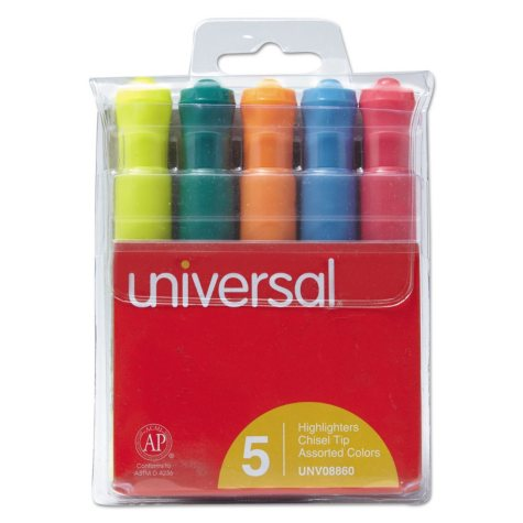 Universal® Desk Highlighter, Chisel Tip, Fluorescent Colors, 5/Set