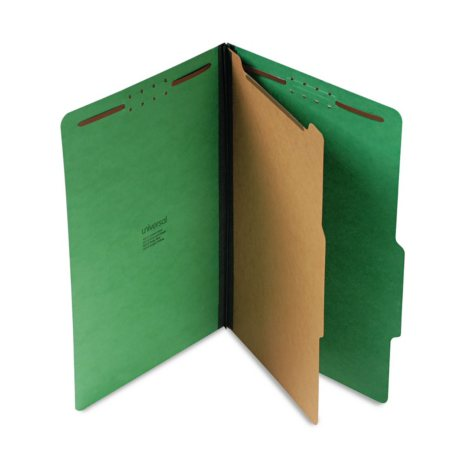 Universal Pressboard Folder, Four-Section, Emerald Green, 10/Box (Various Types)