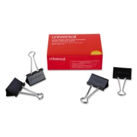 "Universal Large Binder Clips, Steel Wire, 2"" Wide, 1"" Capacity, Black/Silver, 36pk. - Sam's Club"