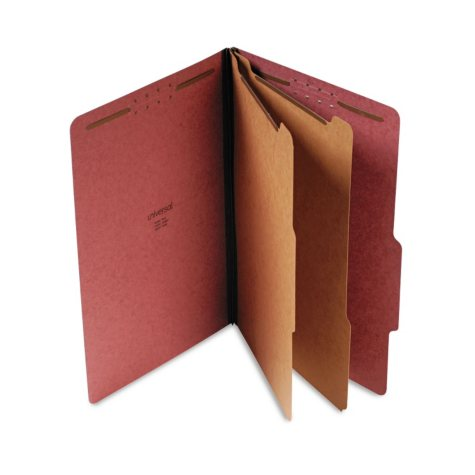 Universal Pressboard Classification Folder, Six-Section, Legal, Red, 10ct.