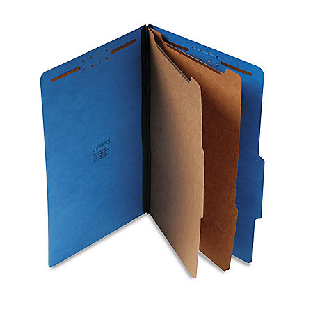 Universal Pressboard Classification Folders, Six-Section, Legal, Cobalt Blue, 10ct.