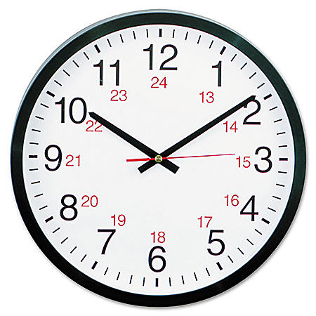 "Universal® 24-Hour Round Wall Clock, 12 5/8"", Black"
