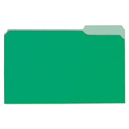 Universal File Folders, 1/3 Cut One-Ply Tab, Legal, Bright Green/Light Green, 100/Box (Various Types)