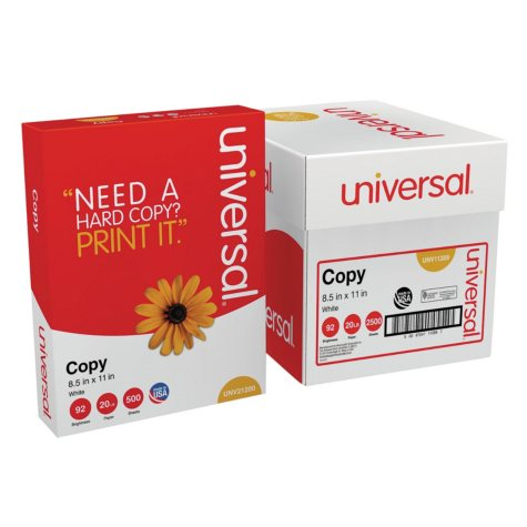 "Universal® Copy Paper Convenience Carton, 92 Brightness, 20lb, 8 1/2"" x11"", White, 5 Reams/CT"
