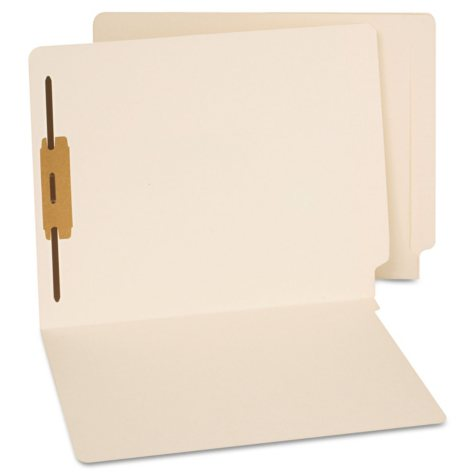 Universal® End Tab Folders, One Fastener, Letter, Manila, 50/Box