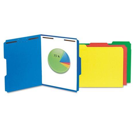Universal Deluxe Reinforced Top Tab Folders, 2 Fasteners, 1/3 Tab, Letter, 50/Box (Various Colors)