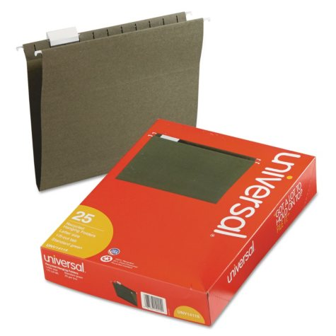 Universal 1/5 Tab Hanging File Folders, 11 Point Stock, Letter, Standard Green, 25ct.