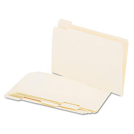Universal File Folders, 1/5 Cut Assorted, One-Ply Top Tab, Manila, 100/Box (Various Types)