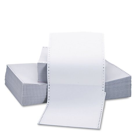 "Universal® Two-Part Carbonless Paper, 15lb, 9-1/2"" x 11"", Perforated, White, 1650 Sheets"