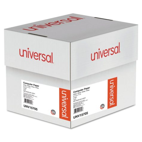 """Universal® 4-Part Carbonless Paper, 15lb, 9-1/2"""" x 11"""", Perforated, White, 900 Sheets"""
