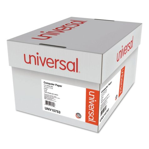"""Universal® Green Bar Computer Paper, 2-Part Carbonless, 14-7/8 x11"""", Perforated, 1650 Sheets"""