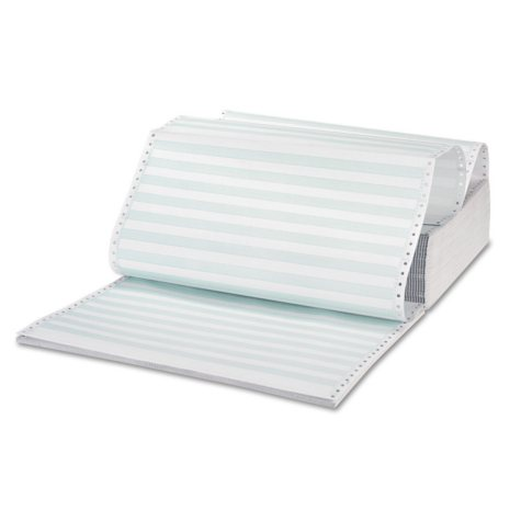 """Universal® Green Bar Computer Paper, Perforated 3-Part Carbonless, 14-7/8 x 11"""", 1100 Sheets"""
