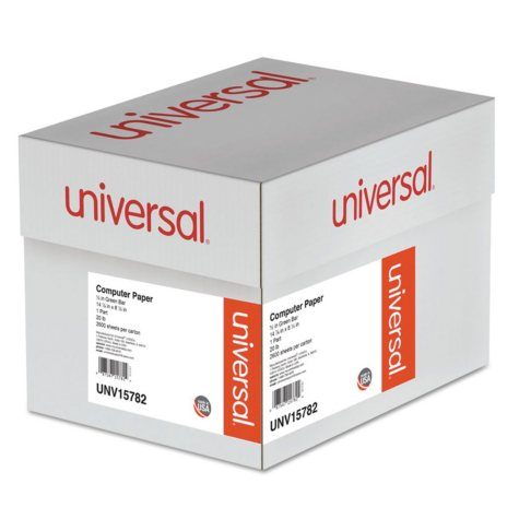 Universal® Green Bar Computer Paper, 20lb, 14-7/8 x 8-1/2, Perforated Margins, 2600 Sheets