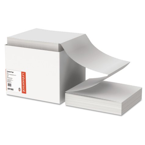 "Universal Computer Paper, Letter Trim Perforations, 20lb, 9-1/2"" x 11"", White, 2400 Sheets"