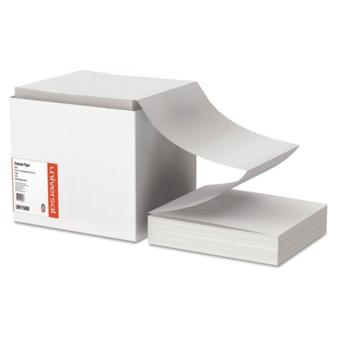 """Universal® Computer Paper, 15lb, 9-1/2"""" x 11"""", Letter Trim Perforations, White, 3300 Sheets"""