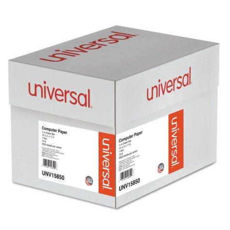 "Universal® Green Bar Computer Paper, 15lb, 14-7/8 x 11"", Perforated Margins, 3000 Sheets"