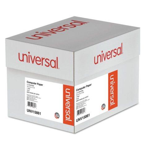 "Universal® Blue Bar Computer Paper, 18lb, 14-7/8"" x 11"", Perforated Margins, 2600 Sheets"