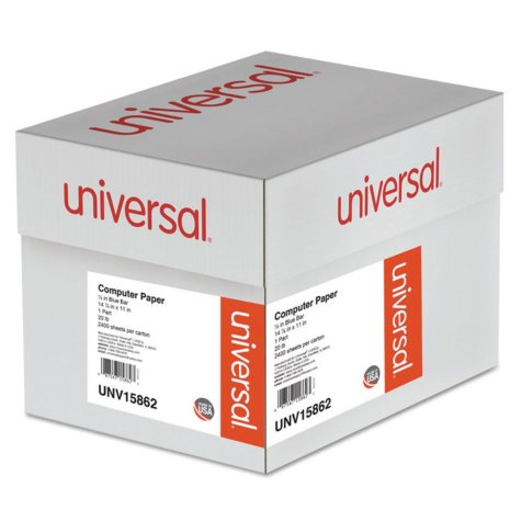 "Universal® Blue Bar Computer Paper, 20lb, 14-7/8"" x 11"", Perforated Margins, 2400 Sheets"