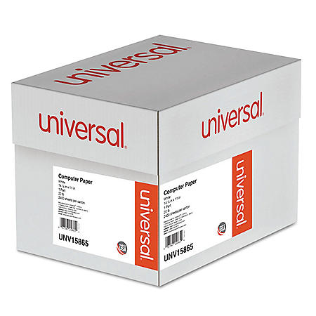"Universal® Computer Paper, 20lb, 14-7/8 x 11"", White, 2400 Sheets"