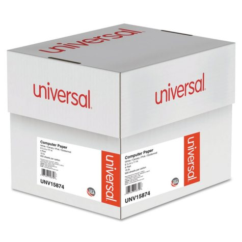 "Universal® Multicolor Paper, 4-Part Carbonless, 15lb, 9-1/2"" x 11"", Perforated, 900 Sheets"