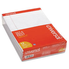 Universal Perforated Edge Writing Pad, Legal Ruled, Letter, White, 50-Sheet Pads, 12ct.