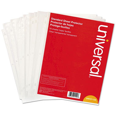 Universal® Top-Load Poly Sheet Protectors, Standard Gauge, Letter, Clear, 50/Pack