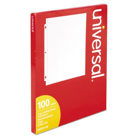 Universal Top-Load Poly Sheet Protectors, Standard, Letter, Clear, 100ct.