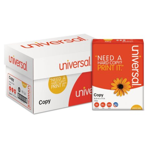 "Universal Copy Paper, 92 Brightness, 20lb, 8-1/2"" x 11"", White, Choose Case or Pallet"