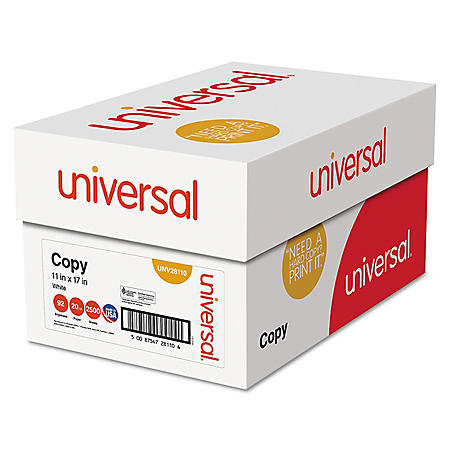 "Universal® Copy Paper, 92 Brightness, 20lb, 11"" x 17"", White, 2500 Sheets/Carton"
