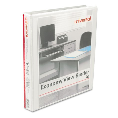 """Universal Round Ring Economy View Binder, 1"""" Capacity, 12ct., Choose a Color"""