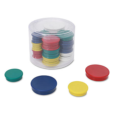 "Universal Assorted Magnets, 3/4"" Dai, 1 1/4"" Dia, 1 1/2"" Dia, Asst Colors, 30/Pack"