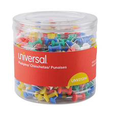 "Universal Colored Push Pins, Plastic, Assorted, 3/8"", 400/Pack"