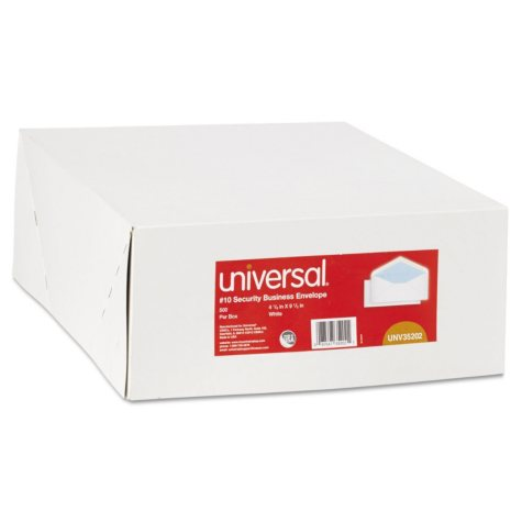 Universal #10 Security Tinted Business Envelope, V-Flap, White, 500ct.