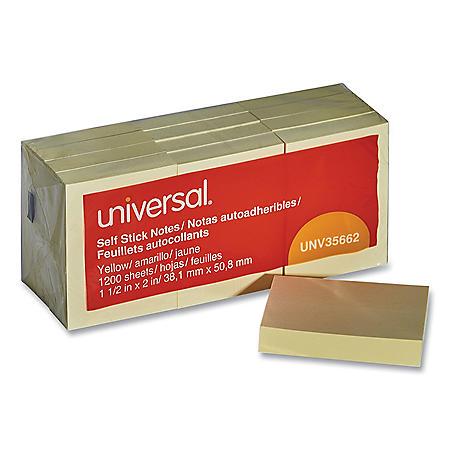 """Universal® Self-Stick Note Pads, 1 3/8 x 1 7/8"""", Yellow, 12 100-Sheet/Pack"""