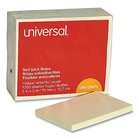 """Universal Standard Self-Stick Notes, 3"""" x 5"""", Yellow, 100-Sheet Pads, 12 Pads"""