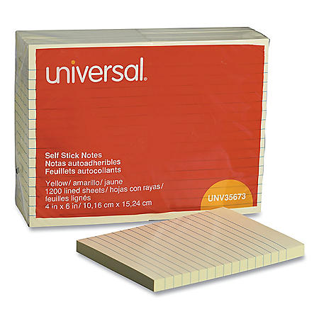"Universal Standard Self-Stick Notes, 4"" x 6"", Lined, Yellow, 100-Sheet Pads, 12 Pads"