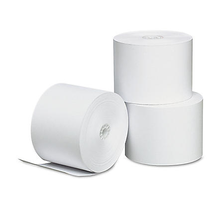 """Universal® Single-Ply Thermal Paper Rolls, 2 1/4"""" x 165 ft., White, 3/Pack"""