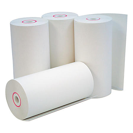 """Universal® Single-Ply Thermal Paper Rolls, 4 3/8"""" x 127 ft., White, 50/Carton"""