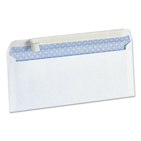 "Universal® Peel Seal Strip Security Envelope, #10, 4 1/8"" x 9 1/2"", White, 100/Box"