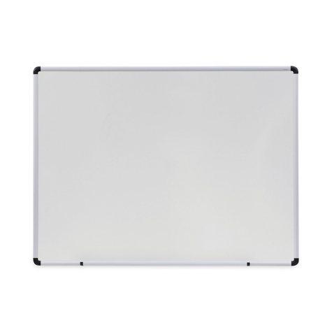 """Universal Melamine Dry Erase Board, 48"""" x 36"""", White, Black/Gray Aluminum/Plastic Frame"""