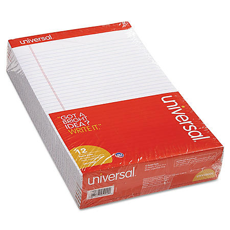Universal Perforated Edge Writing Pad, Wide/Margin Rule, Legal, White, 50-Sheet Pads, 12pk.