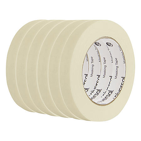 "Universal® General Purpose Masking Tape, 18mm x 54.8m, 3"" Core, 6/Pack"
