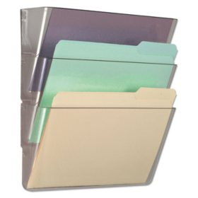 Universal® 3 Pocket Wall File Starter Set, Letter, Clear