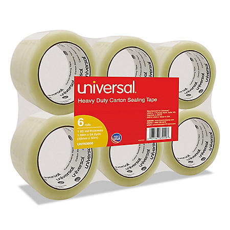 "Universal General-Purpose Box Sealing Tape, 48mm x 54.8m, 3"" Core, Clear, 6/Pack (Various Colors)"