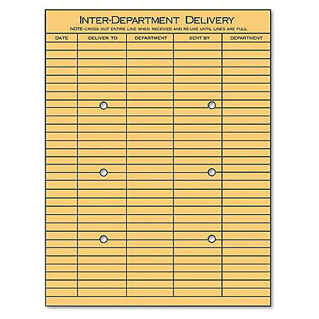 "Universal® Light Brown Kraft String & Button Interoffice Envelope, 10"" x 13"", 100/Box"