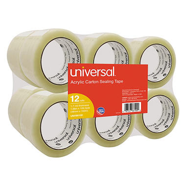 Universal® General-Purpose Acrylic Box Sealing Tape, 48mm x 100m, 3